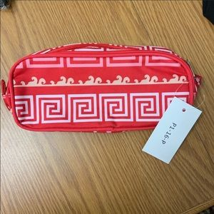 NWT 9x1.5x4 pink/red striped makeup or pencil bag